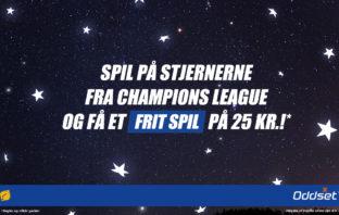 Oddset Frit Spil på 25 kroner til Champions League